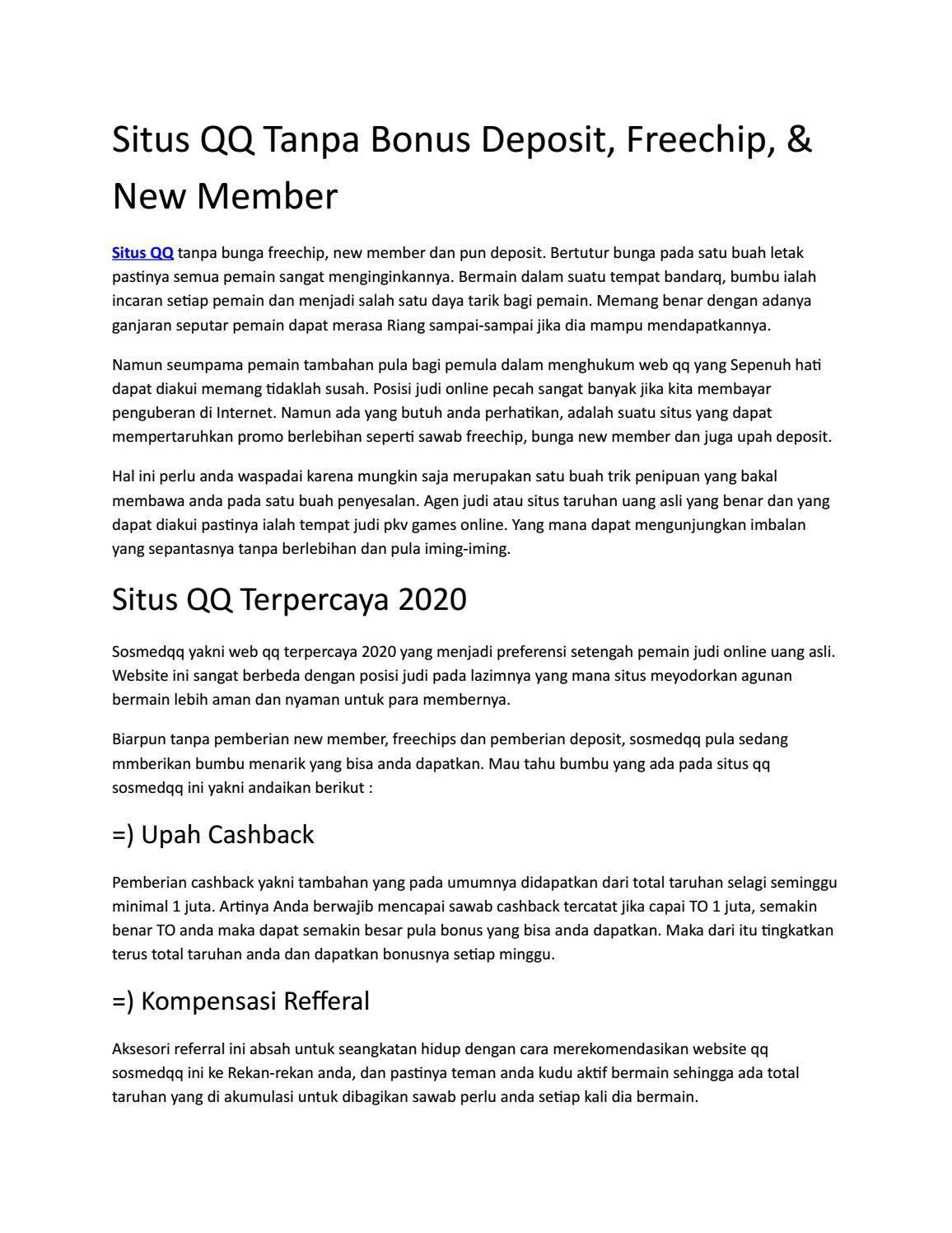 Situs Qq Tanpa Bonus Deposit Freechip New Member By Smilgwen76 Issuu
