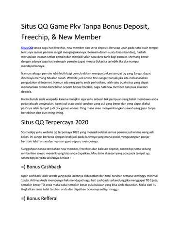 Situs Qq Game Pkv Tanpa Bonus Deposit Freechip New Member By Mirandasnow00 Issuu