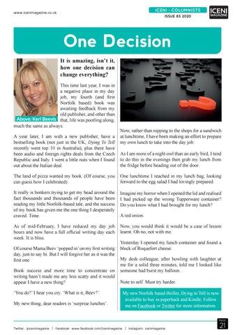 Page 21 of Iceni Columnist Keri Beevis