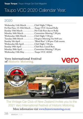 Page 38 of Taupo VCC 2020 Calendar Year