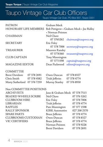 Page 4 of Taupo Vintage Car Club Officers