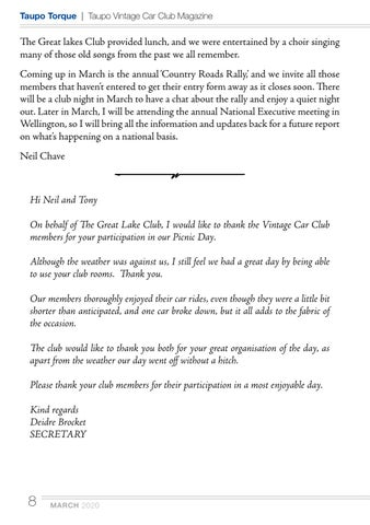 Page 8 of Club Captain's Report