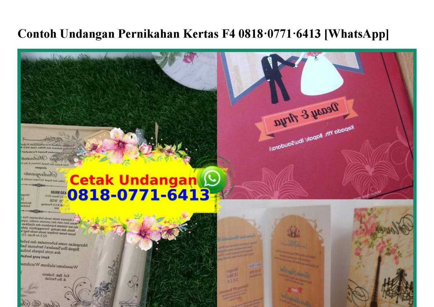 Contoh Undangan Pernikahan Kertas F4 0818 0771 6413 Wa By Vendor Murahgrosir Issuu
