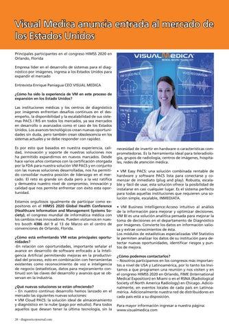 Page 28 of VisualMedica anuncia entrada al mercado de los Estados Unidos