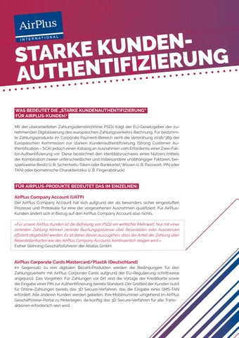 Page 20 of AirPlus: Starke Kundenauthentifi zierung