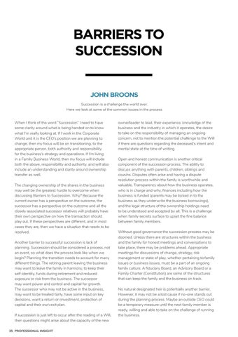Page 40 of BARRIERS TO SUCCESSION