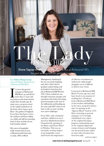 Page 5 of Our Inspiring Woman Diane Tapner-Evans rules at Richmond Hill Hotel