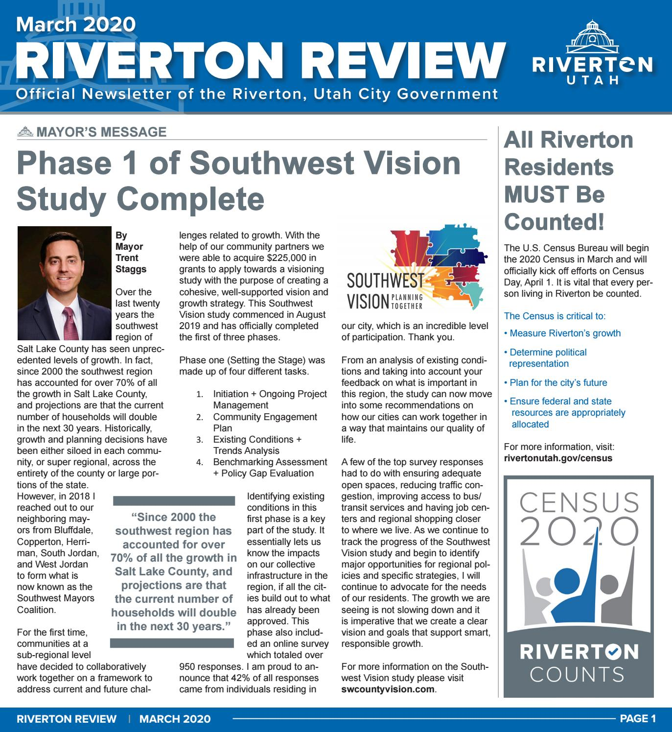 Riverton City Newsletter March 2020 By Riverton Utah City Government Issuu