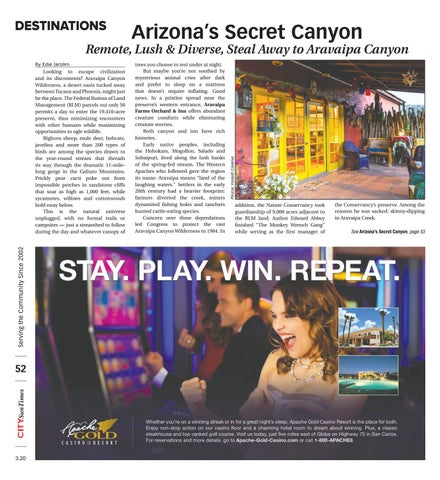 Page 52 of DESTINATIONS Arizona's Secret Canyon Remote, Lush & Diverse, Steal Away to Aravaipa Canyon