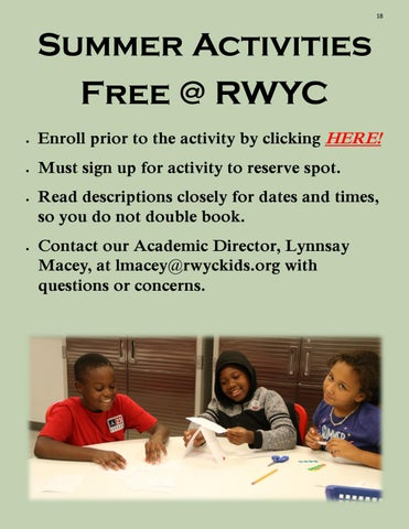Page 18 of Activity Descriptions & Information FREE @ RWYC