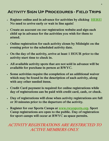 Page 4 of Activity Sign Up Procedures Field Trips