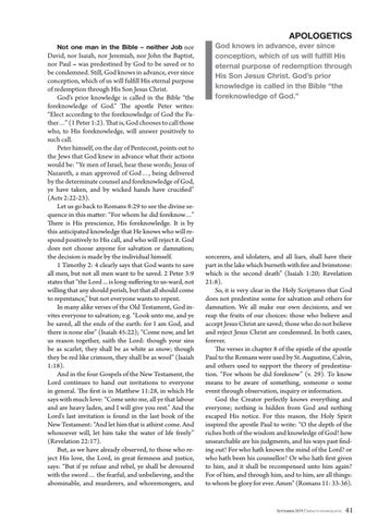 Page 41 of Apologetics PREDESTINATION (III