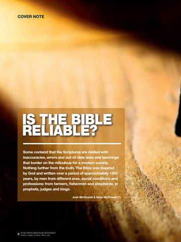 Page 6 of Cover note IS THE BIBLE RELIABLE?
