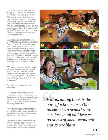 Page 11 of Snapology Strives to Provide Access and Inclusion Through Giving
