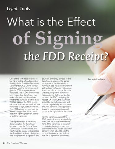 Page 14 of What is the impact of signing FDD receipt?