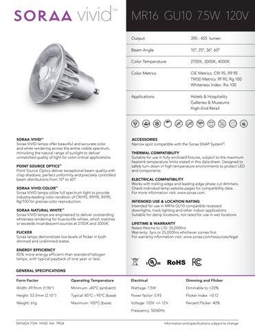 SORAA VIVID 01577 MR16 7.5W 3000k 60° SM16GA-07-60D-930-03 Lamp Light Bulb LED