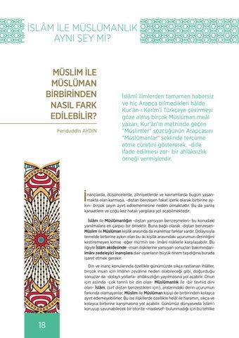 Page 18 of MÜSLİM İLE MÜSLÜMAN BİRBİRİNDEN NASIL FARK EDİLEBİLİR? Feriduddîn AYDIN