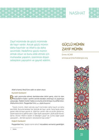 Page 31 of GÜÇLÜ MÜMİN ZAYIF MÜMİN Emre ACAR