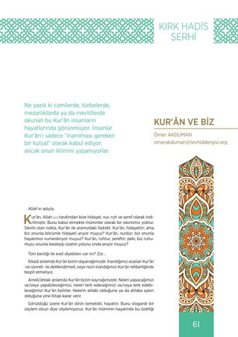Page 61 of KUR'ÂN VE BİZ Ömer AKDUMAN