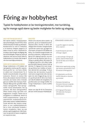 Page 39 of FÔRINGSRÅD Fôring av hobbyhest