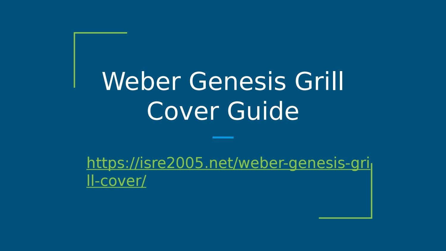 Weber Genesis Gas Grill Cover Guide Presentation