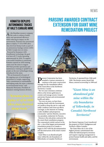 Page 39 of Parsons awarded contract extension for Giant Mine remediation project