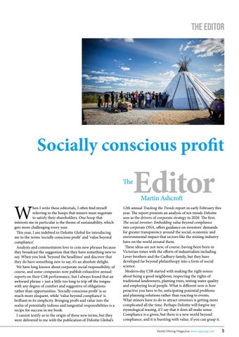 Page 5 of The Editor: Socially conscious profit
