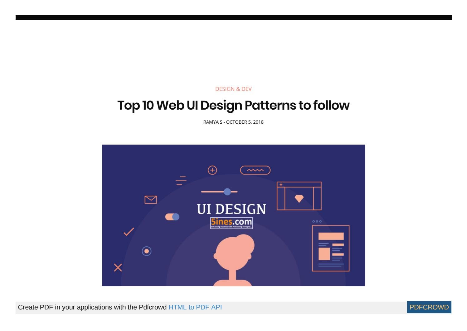Top 10 Web Ui Design Patterns To Follow By Rohithjain Issuu