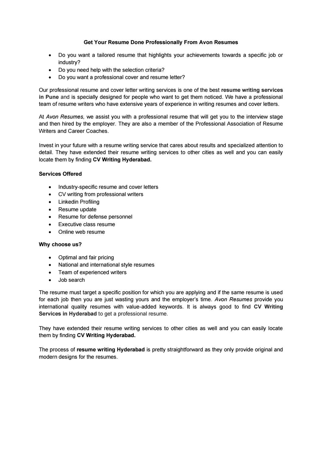 Resume Update Services : Thompson Resume Writing Co ...