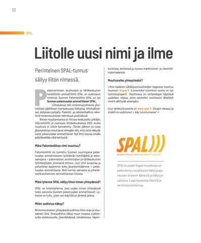 Page 10 of SPAL Liitolle uusi nimi ja ilme