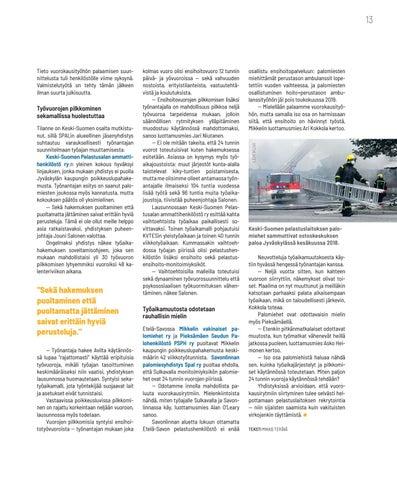 Page 13 of TYÖAIKA Keski-Suomi ja Etelä-Savo takaisin vuorokausirytmiin?
