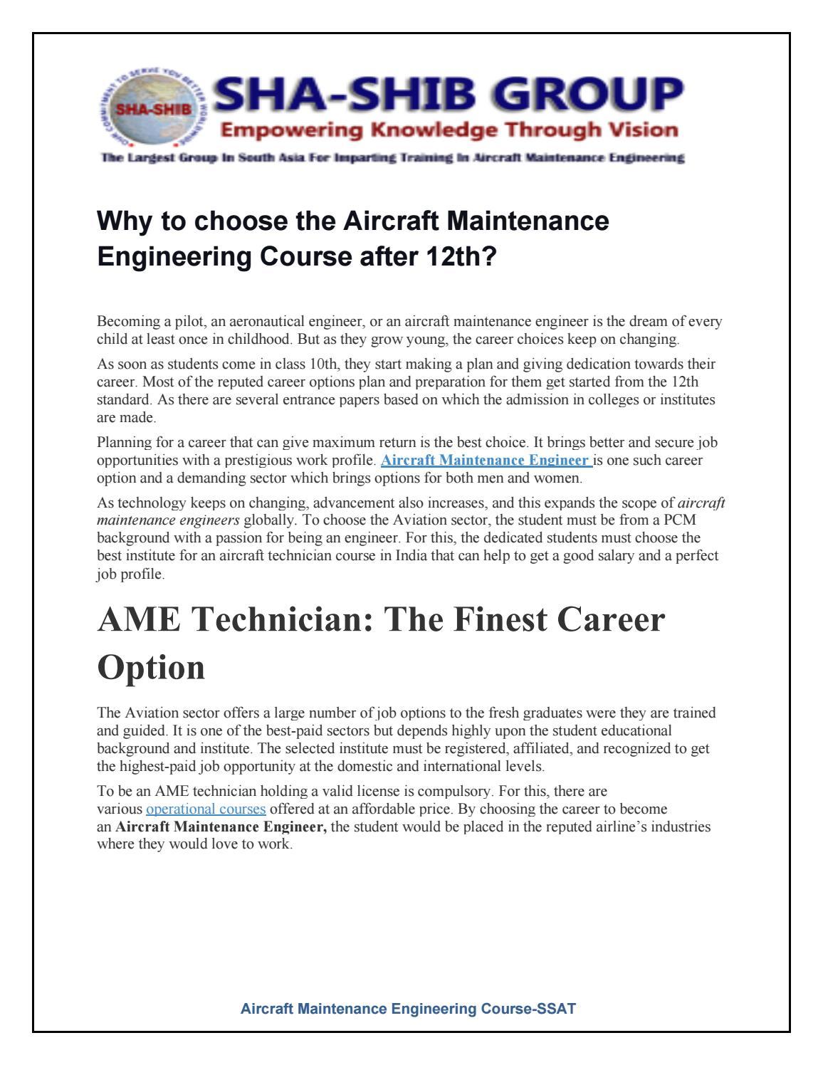 Aircraft Maintenance Engineering Course Ssat By Shashibgroup91 Issuu