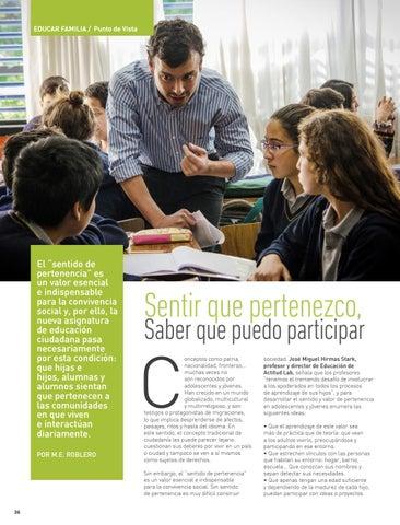 """Page 36 of EDUCAR FAMILIA: PUNTO DE VISTA El """"sentido de pertenencia"""