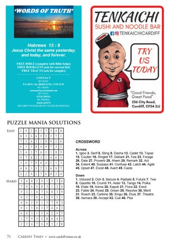 Page 71 of Puzzle Mania Solutions