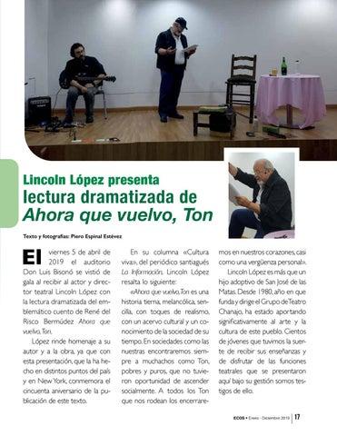 Page 17 of Lincoln López presenta lectura dramatizada de Ahora que vuelvo, Ton