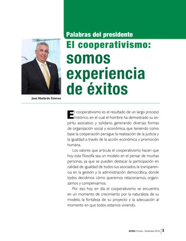 Page 3 of Palabras del presidente El cooperativismo: somos experiencia de éxitos