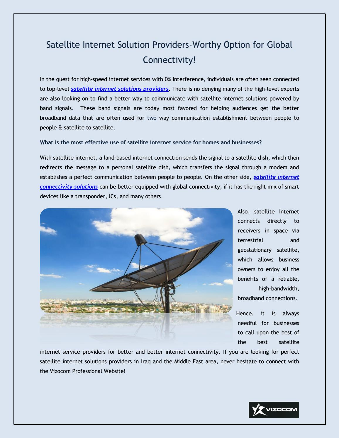 Satellite Internet Solution Providers Worthy Option For Global Connectivity By Vizocom Issuu