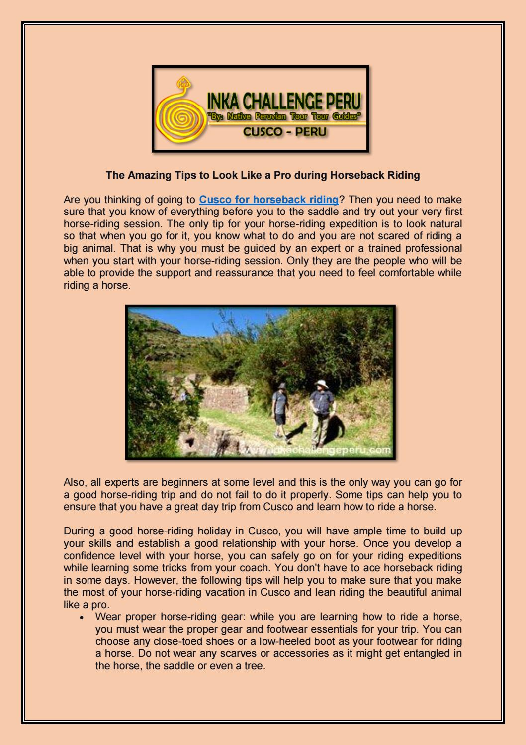 The Amazing Tips To Look Like A Pro During Horseback Riding By Inkachallengeperunew Issuu