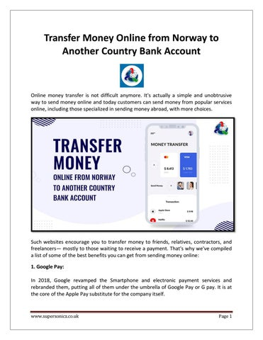 Transfer Money Online From Norway To