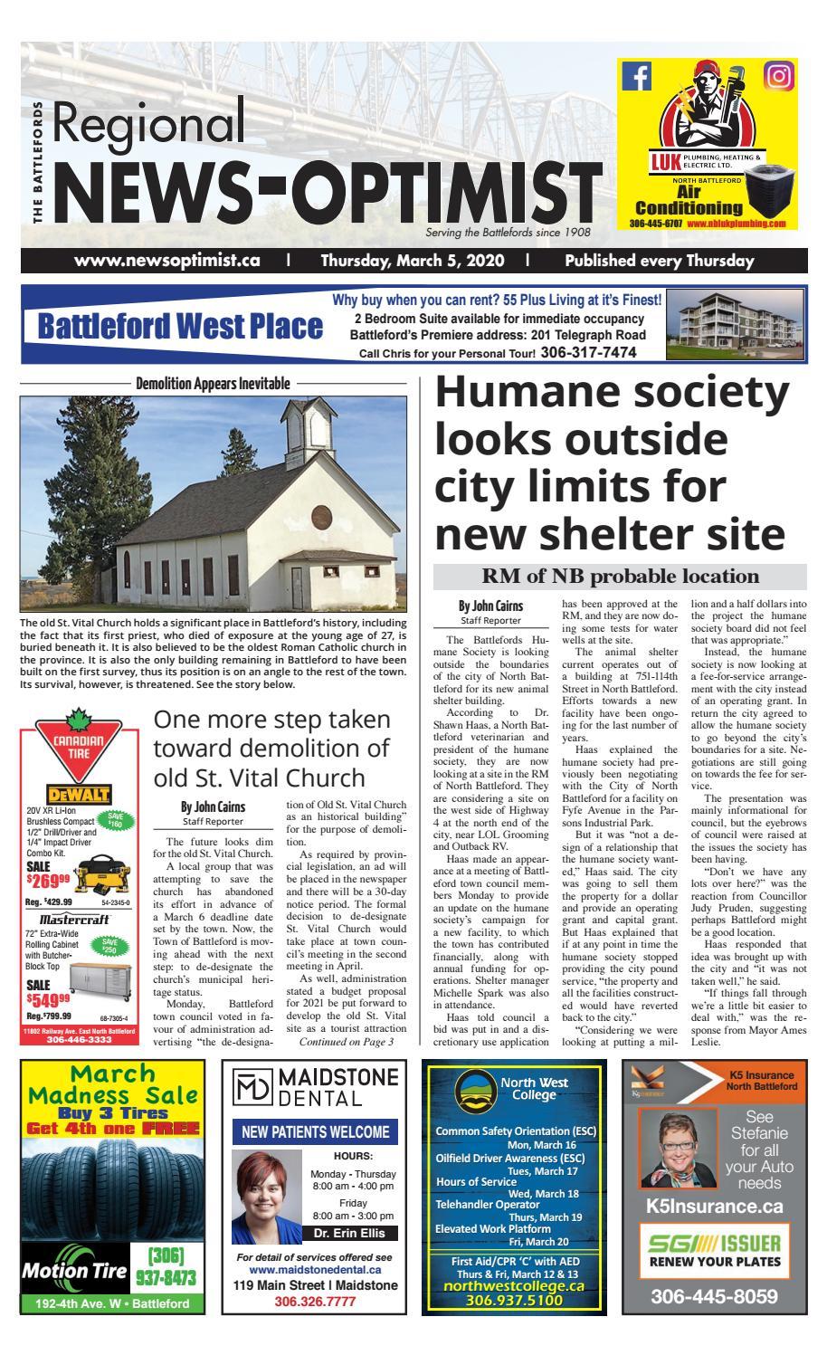 Regional News Optimist March 5 2020 By Battlefords News Optimist