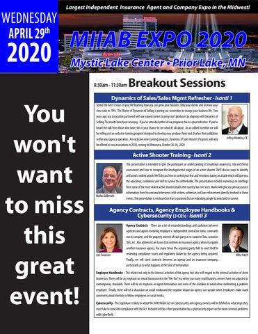 Page 10 of MIIA EXPO 2020 - Wednesday April 29th, Mystic Lake Center - Prior Lake