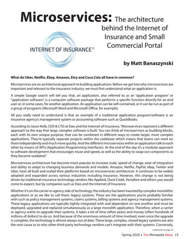 Page 15 of Microservices: The architecture behind the Internet of Insurance and Small Commercial Portal