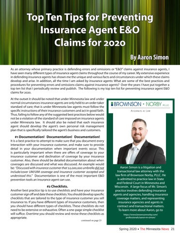 Page 21 of Top Ten Tips for Preventing Insurance Agent E&O Claims for 2020