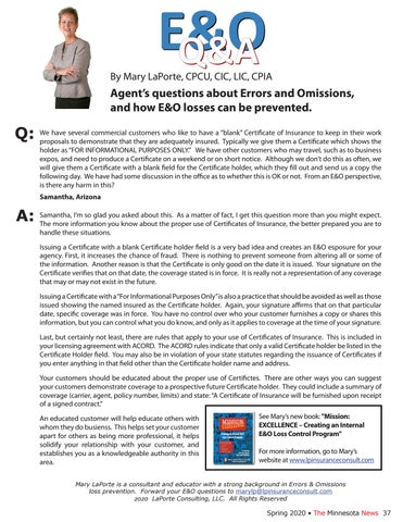 Page 37 of E&O Q&A - Agent's questions about Errors and Omissions, and how E&O losses can be prevented.