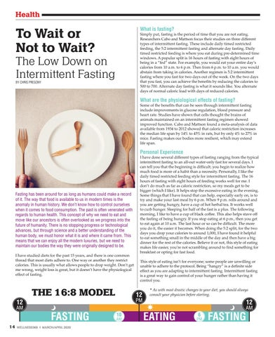 Page 14 of To Wait or Not to Wait? The Low Down on Intermittent Fasting