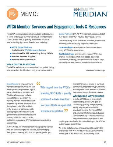 Page 13 of MEMO: WTCA Member Services and Engagement Tools & Resources