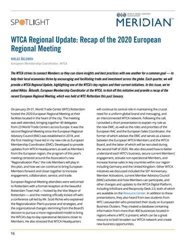 Page 16 of SPOTLIGHT: WTCA Regional Update: Recap of the 2020 European Regional Meeting