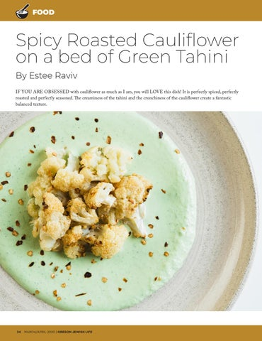 Page 34 of FOOD Spicy roasted caulifower on a bed of green tahini