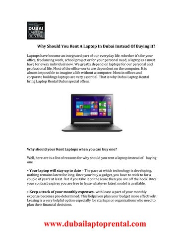 Why Should You Rent A Laptop In Dubai Instead Of Buying It By Laptoprentalsdubai Issuu