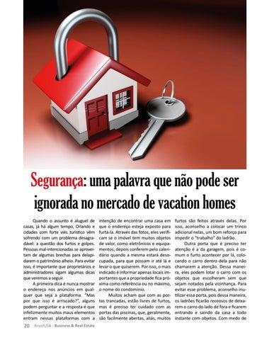 Page 20 of SEGURANÇA: UMA PALAVRA QUE NÃO PODE SER IGNORADA NO MERCADO DE VACATION HOMES